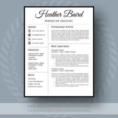 Modern Resume Template, Use with Microsoft Word. Fully customizable.