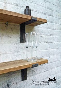 15cm x 2.5cm Rustic Industrial Metal Bracketed Shelf from Ben Simpson Furniture. This listing is only for ONE shelf. The shelf in this listing is 15cm Depth by 2.5cm Thickness by your choice of Width. We pride ourselves on creating beautifully crafted pieces of wooden furniture