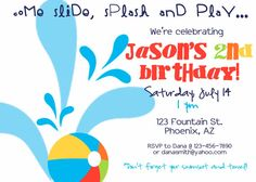 PRINTABLE Water Slide Splash Birthday Party Invitation-DIY printable invitations by Luv Bug Design