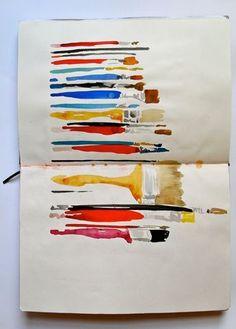 Paintbrushes in a sketchbook - Rachel Parker. This would be lovely framed as is in a shadow box. Art Doodle, Illustrations, Illustration Art, Arte Sketchbook, Sketchbook Inspiration, Sketchbook Ideas, Art Plastique, Rachel Parker, Moleskine