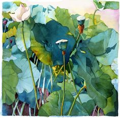 "Shadows and shades of blue and green combine to create a stunning visual in this Limited Edition print from an original watercolor by Marlies Merk Najaka. The image measures 26"" wide by 26"" high with a 3"" white border on deckled edged watercolor paper. It is shipped rolled in a tube ready to be matted or framed and is signed and numbered. Shipping is free."