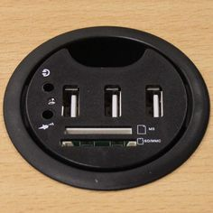 1cc4a62ca57 USB Desk Grommet with 3 USB 2.0, Multi-Card Reader, and  Headphone/Microphone Jacks, Diameter 2.75 inch