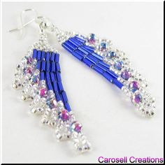 Ripples Delight Seed Beaded Earrings TAGS - Jewelry, Earrings, Beaded, glass, seed beads, carosell creations, dangle, chandelier, pierced, accessories, blue, silver, purple, ripple, fringe, bugle, holiday gift idea, ladies, modern, trend, belly dancer, boho, gypsy, bohemian, chic, bling, evening, casual, custom orders, women