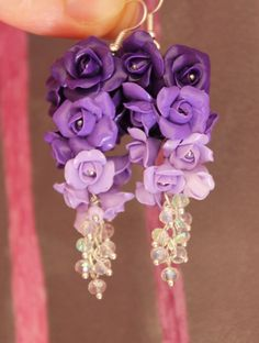 Purple Roses Flowers Earrings / Handmade Polymer Clay | Jewelry & Watches, Handcrafted, Artisan Jewelry, Earrings | eBay!