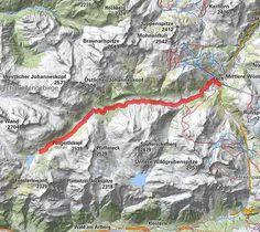 BERGFEX-Von Lech zum Formarinsee | Zur Quelle des Lech - Wanderung - Tour Vorarlberg Map, Painting, Mountain Range, Tours, Hiking, Places, Vacations, Summer Recipes, Painting Art