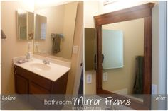 How to build a bathroom Mirror Frame #kregjig #diy #bathroom