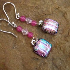Dichroic Fused Glass Drop Earrings Hot Pink Swing by GlassCat, $22.00