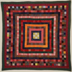 This concentric frames quilt is made entirely with 2 squares set end to end to create bands of color. Only the center uses alternating colors to create a nine patch block. The colors are very rich with just the right amount of punch from the Amische Quilts, Log Cabin Quilts, Strip Quilts, Baby Quilts, Mini Quilts, Quilt Blocks, Antique Quilts, Vintage Quilts, Rail Fence Quilt
