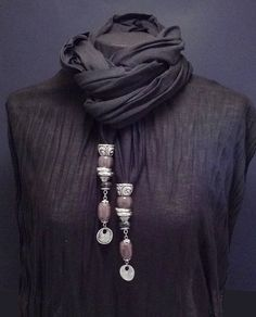 SCARVES: Cute scarf jewelry. http://therealpearlcompany.com/index.php/charcoal-bead-pendant-jewellery-scarf.html