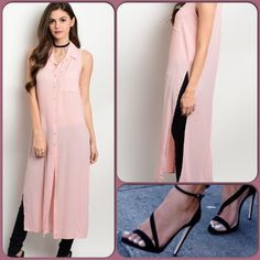 Pretty Pink Top This trendy sleeveless top looks great with pants, skirts and even shorts. Light weight material, button down with collar. Shoe pic for styling only. (This closet does not trade or use PayPal ) My Story  Tops Button Down Shirts