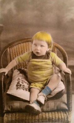 Vintage RPPC..Boy with Bright Yellow Hair..1920's Original Photo, Old Photo Snapshot, Vernacular Found, Artistic Altered Art, Ephemera by iloveyoumorephotos on Etsy