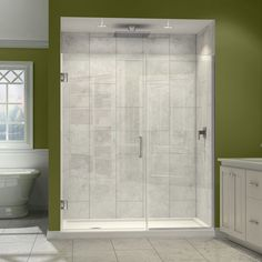 Shop StudioLX for your DreamLine Unidoor Plus 33 to in. W x 72 in. H Hinged Shower Door, Chrome Finish Hardware in our Shower Doors department. The Unidoor Plus Shower Door from DreamLine, the only shower door you need to complete any shower project. Bathroom Shower Doors, Frameless Shower Doors, Bathroom Ideas, Bath Ideas, Shower Ideas, Bathroom Updates, Master Shower, Bathroom Fixtures, Modern Bathroom