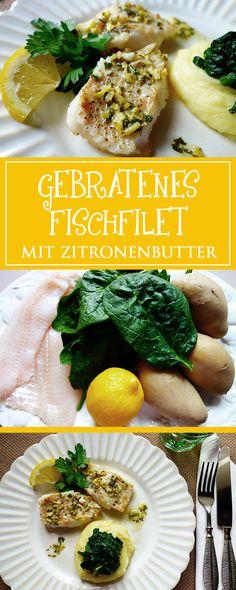 Gebratenes Fischfilet mit Zitronenbutter & Spinat - ein einfaches und leckeres Rezept, das in nur 30 Minuten fertig ist. Zudem frisch, gesund und glutenfrei! 🍽❤️ | cucina-con-amore.de