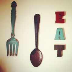Fork And Spoon Wall Decor black kitchen wall decor, large fork spoon wall decor, eat sign