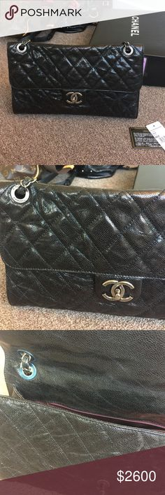 """Authentic Chanel CC Crave Large Black (Cleaning out my closet!) This is Authentic Chanel CC Crave bag. *** Condition: gently used (used inly few times) *** Material: Black glazed leather/ ***Handles: Single adjustable leather and chain entwined handle with shoulder pad *** Closures/Opening: Flap top with CC turnlock **** Hardware: Ruthenium *** Origin: Italy *** Production Year: 2013 *** Handle Drop: 10"""" and 17"""" *** Measurements: 12.5"""" L x 4"""" W x 8.25"""" H *** Final sale and NO returns CHANEL…"""