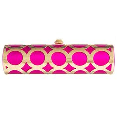 Alessia clutch in our rich Darjeeling Fuchsia Duchess Satin inside a gold plated cage made after one of Amanda's hand painted designs. The inside of the bag is lined with AP Lace Logo Moiré and houses a gold plated logo touch-up mirror with cover. The push button opening features a Rock Crystal cabochon inside our signature gem closure.