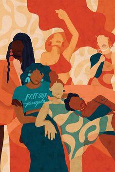 Women Canvas Art by Reyna Noriega Black Girl Art, Black Women Art, Feminist Art, African American Art, American Artists, African Art, Afro Art, Black Artists, Canvas Art Prints