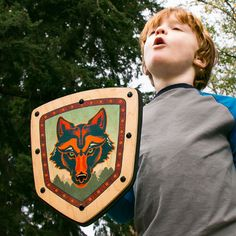 Imagine the howls of fun you'll hear when the kids play with this Wooden Shield from MIGHTY FUN! Love the vivid and colorful Wolf design. Handmade in the USA from non-toxic Real Wood and Soft Foam, this is a sturdy toy for hours and hours of active pretend play. #woodentoys #toys #madeinUSA