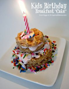 Try out this fun Birthday tradition of having a yummy (but healthy) Birthday Breakfast Cake for your kids on their special day. B-InspiredMama.com #EggoWaffleOff #spon