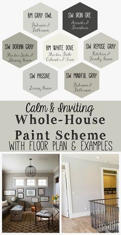 Calm and Inviting Whole House Paint Scheme. calm and inviting whole house paint scheme, home decor, paint colors, painting. Living Room Paint and Decor Paint Color Schemes, House Color Schemes Interior, Home Color Schemes, Grey Interior Paint, Basement Color Schemes, Home Interior Colors, Kitchen Color Schemes, Office Color Schemes, Basement Colors