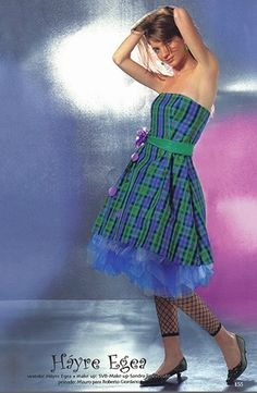 Vestido de quince de cuadros en verde y azul - Fifteen dress in green and blue