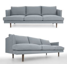 Mid century influenced design and style, this very unique large sofa is really as relaxing as it is decadent. Features: Sturdy, corner blocked solid wood frame/ Solid wood legs in a Walnut stain/ T shaped seat cushions are high resiliency foam core wrapped in fiber down blend in a down proof cambric shell/ Back cushions are fiber down blend in a down proof cambric shell/ Loose cushions with removable covers/ Rubber webbing suspension/ Upholstered in a durable slate fabric. Mid Century Modern Sofa, Mid Century Modern Furniture, Banquette Bench, Large Sofa, Walnut Stain, Hollywood Regency, Sofa Furniture, Contemporary Furniture, Seat Cushions