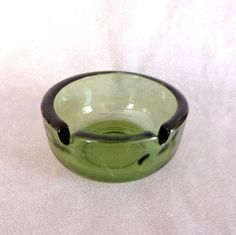 Tobacciana Ashtray Vintage Glass 1970s Olive Green