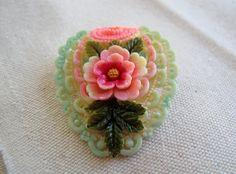 Celluloid Japan flower brooch / 1930s signed by SandrasCornerStore, $71.00