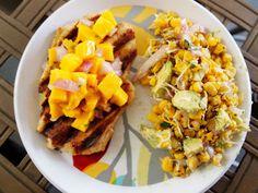 Mango salsa grilled chicken & avocado roasted corn salad...BRIGHT & healthy:) @ My Tasty Journey