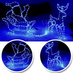 Silhouette Santa on Sleigh Large Reindeer 180 c LED Rope Lights Christmas Decor in Home, Furniture & DIY, Celebrations & Occasions, Christmas Decorations & Trees | eBay!
