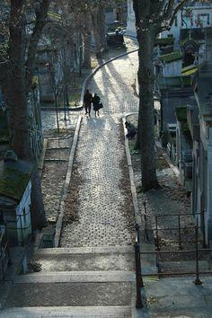 An often-photographed path of Père Lachaise cemetery, Paris, France