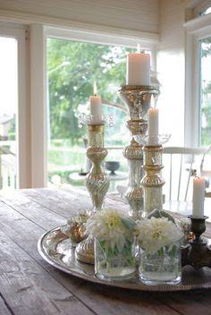 Centerpiece- Mercury glass candlesticks and flowers