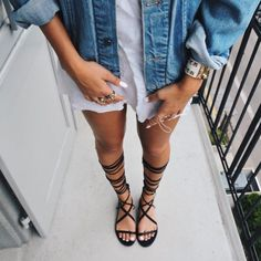 Lace-up sandal + denim jacket.