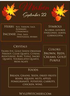 Mabon Correspondences  Herbs, Incense, Symbols, Crystals, Colors, Foods. Mabon, Autumnal Equinox Celebration, Autumn Equinox Ritual, The Cream, Chakra Meditation, Chakra Balancing, Magick, Wicca Witchcraft, Wiccan Sabbats