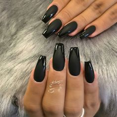 Black Coffin Nails Matte Manicure Nail Art
