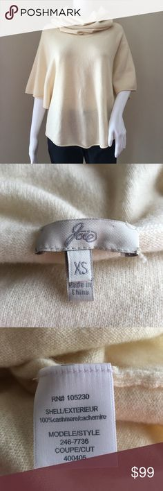Joie Sweater 100% Cashmere Poncho Cowl Neck XS If you like this perhaps you'll find something else in my store VTDesignerly.  Joie US Women's Size XS Thin knit beautiful ivory poncho sweater. Long drapey cowl neck, very chic. Rolled hems. No holes, no stains. Shoulder   15 inches seam to seam straight across back of the sweater Sleeve   16 inches center back of the sweater to the end of the hem Length   19 inches center base of the back of the collar to the end of the sweater Chest…