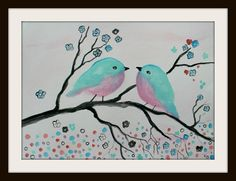 Birds on a branch - Mother's day Original Watercolor Painting by Alma Yamazaki 11 x 15