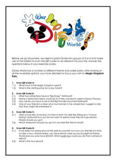 Use QR Codes to navigate to specific pages of the Disney World Website. Students answer questions based on the information they find there. Disney World Trip, Qr Codes, Teacher Resources, Coding, How To Plan, Programming