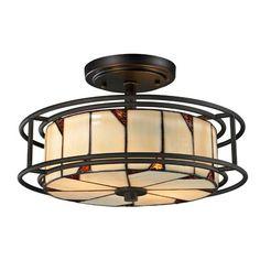 Dale Tiffany TH12456 DT Contempo Woodbury Semi Flush Mount Light Fixture, Dark Bronze Dale Tiffany Lamps