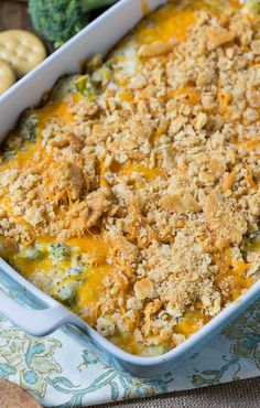 This classic Southern Broccoli Cracker Casserole is true comfort food. It's cheesy and creamy, which is what you want in a side dish, right? Make this vegetable casserole recipe for a holiday party or any ol' potluck.
