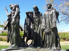 AUGUSTE RODIN (French): The Burghers of Calais, 1884-89, Hirshhorn Museum, D.C. - commemorates an episode during the Hundred Years' War between England and France. Probably the best and certainly the most successful of Rodin's public monuments. he arrangement of the group, with its unorthodox massing and subtle internal rhythms, was not easily settled, and the completed monument, cast in bronze by the Le Blanc-Barbedienne foundry, was not unveiled in Calais until 1895. (met)