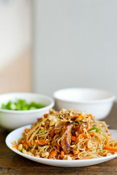 Hoisin Pork with Rice Noodles - Pinch of Yum