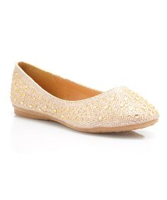 Loving this Gold Rhinestone-Embellished Flat on #zulily! #zulilyfinds