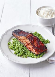 Spiced grilled salmon with pea and mint mash: The best quick meal for salmon. Made with Indian tandoori paste and grilled then served with the quick and easy mushy peas - with a twist. A healthy meal for two.