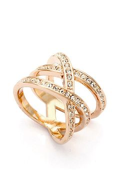 Gold Gemstone Cross Ring