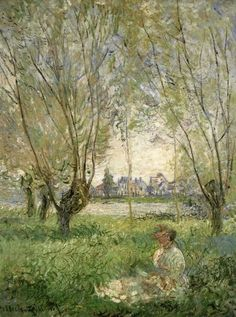 Woman seated under willows