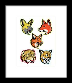 Mascot Framed Print featuring the digital art Wild Dogs And Wild Cats Mascot Collection by Aloysius Patrimonio Wild Dogs, Hanging Wire, Retro Fashion, Fine Art America, Digital Art, Framed Prints, Cats, Artwork, Collection