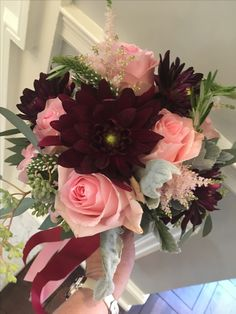 Maroon dahlias, pink roses, pink astilbe, dusty Miller, and seeded eucalyptus made this bouquet a great choice for fall! Seeded Eucalyptus, Astilbe, Dusty Miller, Dahlias, Pink Roses, Wedding Events, Floral Design, Floral Wreath, Bouquet