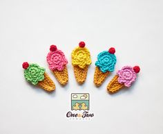 PDF Crochet Pattern - Ice Cream Applique - Text instructions and SYMBOL CHART instructions - Permission to Sell Finished Items, via Etsy. Crochet Simple, Love Crochet, Crochet Flowers, Crochet Baby, Knit Crochet, Crochet Motifs, Crochet Squares, Crochet Patterns, Crochet Embellishments