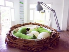 Unusual Kids Bed Room Like Giant Nest with Green Pillow Design . × by image Unusual Kids Bed Room Like Giant Nest with Green Pillow Design. Unusual Kids Bed Room Like Giant Nest with Green Pillow Design Giant Beds, Creative Beds, Cool Kids Bedrooms, Amazing Bedrooms, Kids Rooms, Coolest Bedrooms, Boy Rooms, Beautiful Bedrooms, Beautiful Interiors
